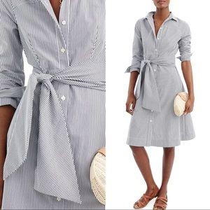 J.Crew Stripe Tie Waist Shirt Dress